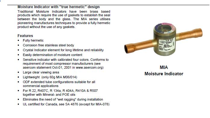 Moisture indicators, Sight glasses